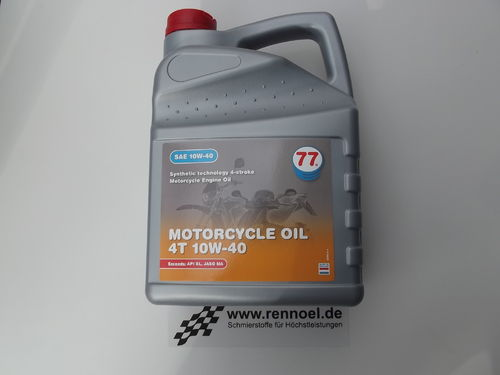 77 Lubricants MOTORCYCLE OIL 4T SAE 10W-40  -   4 ltr. Kan.