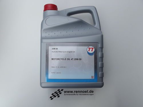 77 Lubricants MOTORCYCLE OIL 4T SAE 20W-50 - 5 ltr. Kan.