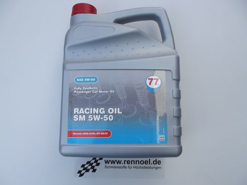 77 Lubricants Racing Oil SM SAE 5W-50  -  5 ltr. Kan.